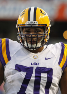 Oct 11, 2014; Gainesville, FL, USA; LSU Tigers offensive tackle La'el Collins (70) works out prior to the game against the Florida Gators at Ben Hill Griffin Stadium. Mandatory Credit: Kim Klement-USA TODAY Sports