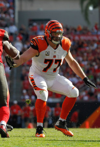 Nov 30, 2014; Tampa, FL, USA; Cincinnati Bengals tackle Andrew Whitworth (77) blocks against the Tampa Bay Buccaneers during the second quarter at Raymond James Stadium. Mandatory Credit: Kim Klement-USA TODAY Sports