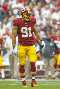 Sep 7, 2014; Houston, TX, USA; Washington Redskins outside linebacker Ryan Kerrigan (91) during the game against the Houston Texans at NRG Stadium. Mandatory Credit: Kevin Jairaj-USA TODAY Sports