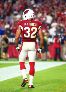 Oct 26, 2015; Glendale, AZ, USA; Arizona Cardinals safety Tyrann Mathieu (32) against the Baltimore Ravens at University of Phoenix Stadium. Mandatory Credit: Mark J. Rebilas-USA TODAY Sports