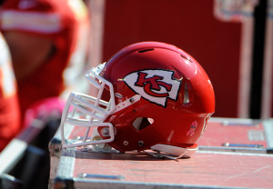 Oct 13, 2013; Kansas City, MO, USA; A Kansas City Chiefs helmet on the sidelines against the Oakland Raiders in the first half at Arrowhead Stadium. Kansas City won the game 24-7. Mandatory Credit: John Rieger-USA TODAY Sports