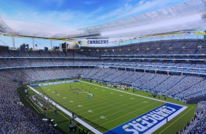 Apr 23, 2016; San Diego, CA, USA; General view of conceptual renderings of proposed San Diego Chargers downtown stadium and convention center expansion bounded by 12th and Imperial avenues and 16th and K streets adjacent to Petco Park. Mandatory Credit: Kirby Lee-USA TODAY Sports