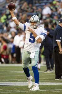 Aug 25, 2016; Seattle, WA, USA; Dallas Cowboys quarterback Tony Romo (9) warms up before the start of a preseason game against the Seattle Seahawks at CenturyLink Field. Mandatory Credit: Troy Wayrynen-USA TODAY Sports