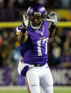 Dec 27, 2015; Minneapolis, MN, USA; Minnesota Vikings wide receiver Jarius Wright (17) celebrates a first down during the second quarter against the New York Giants at TCF Bank Stadium. Mandatory Credit: Brace Hemmelgarn-USA TODAY Sports