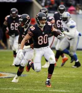 Jan 3, 2016; Chicago, IL, USA; Chicago Bears wide receiver Marc Mariani (80) during the game against the Detroit Lions at Soldier Field. Mandatory Credit: Matt Marton-USA TODAY Sports