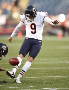 Aug 18, 2016; Foxborough, MA, USA; Chicago Bears kicker Robbie Gould practices a field goal prior to a game against the against the New England Patriots at Gillette Stadium. Mandatory Credit: Bob DeChiara-USA TODAY Sports