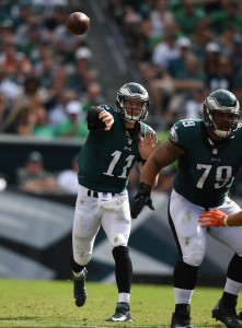 Sep 11, 2016; Philadelphia, PA, USA; Philadelphia Eagles quarterback Carson Wentz (11) passes in the fourth quarter agains the Cleveland Browns at Lincoln Financial Field. Philadelphia defeated Cleveland 29-10. Mandatory Credit: James Lang-USA TODAY Sports