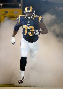 Sep 27, 2015; St. Louis, MO, USA; St. Louis Rams tackle Greg Robinson (73) is introduced before a game against the Pittsburgh Steelers at the Edward Jones Dome. Steelers defeated the Rams 12-6. Mandatory Credit: Jeff Curry-USA TODAY Sports