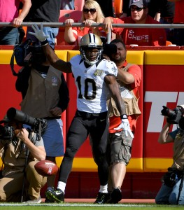 Oct 23, 2016; Kansas City, MO, USA; New Orleans Saints wide receiver Brandin Cooks (10) celebrates after scoring in during the first half against the Kansas City Chiefs at Arrowhead Stadium. Mandatory Credit: Denny Medley-USA TODAY Sports