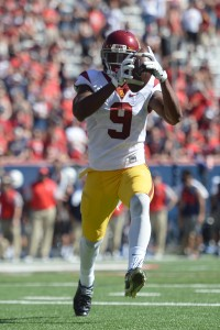 Oct 15, 2016; Tucson, AZ, USA; USC Trojans wide receiver JuJu Smith-Schuster (9) runs for a touchdown after making a catch against the Arizona Wildcats during the first half at Arizona Stadium. The Trojans won 48-14. Mandatory Credit: Joe Camporeale-USA TODAY Sports